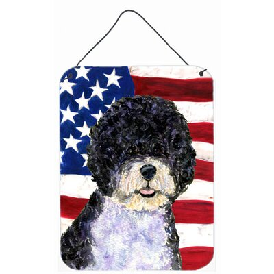 USA American Flag with Portuguese Water Dog Hanging Painting Print Plaque by Caroline's Treasures