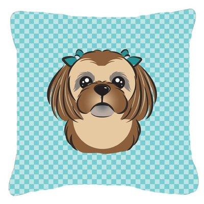 Checkerboard Chocolate Brown Shih Tzu Indoor/Outdoor Throw Pillow by Caroline's Treasures
