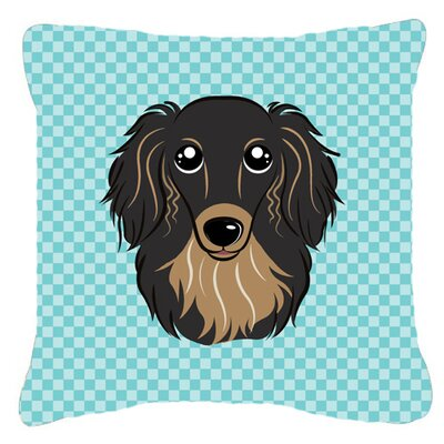 Checkerboard Longhair Black and Tan Dachshund Indoor/Outdoor Throw Pillow by Caroline's Treasures