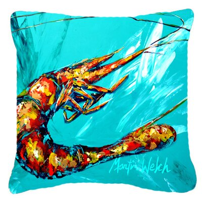 Shrimp Teal Shrimp Indoor/Outdoor Throw Pillow by Caroline's Treasures