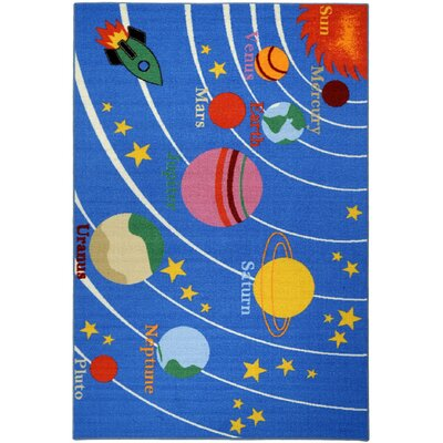 Bambino Kids Fun Time Educational Galaxy Planets Stars Blue Area Rug by Rugnur