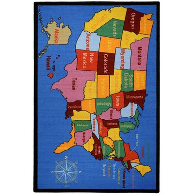 Bambino Kids Fun Time Educational United States Map Cities Blue Area Rug by Rugnur