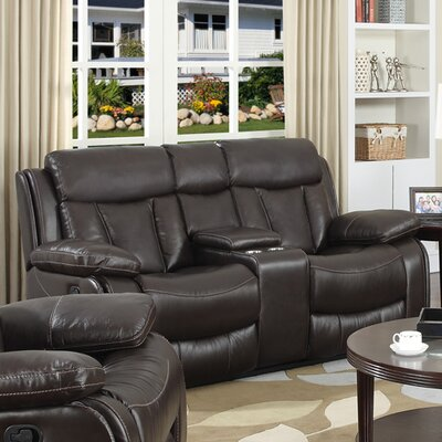 Power Leather Reclining Loveseat by Darby Home Co