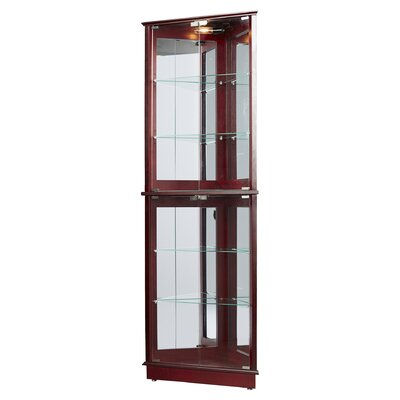 Charlton home lohmer floor standing 3 sided corner curio for Floor standing corner bathroom cabinet