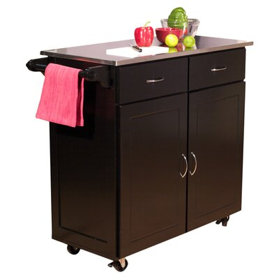 Dayville Kitchen Island with Stainless Steel Top Product Photo