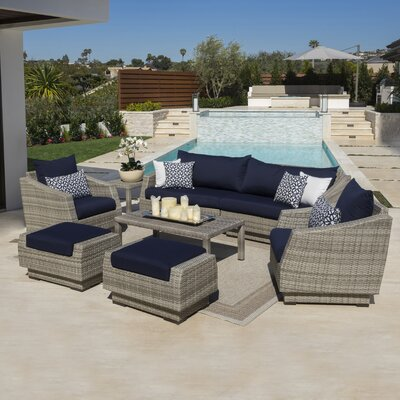Alfonso 8 Piece Sofa and Club Chair Seating Group with Cushions by Wade Logan