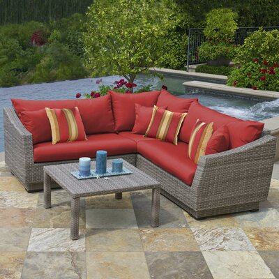 Alfonso 4 Piece Corner Sectional Seating Group with Cushions by Wade Logan
