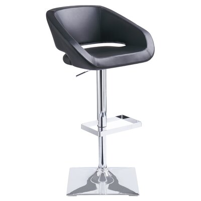 Pete Adjustable Height Swivel Bar Stool with Cushion by Wade Logan