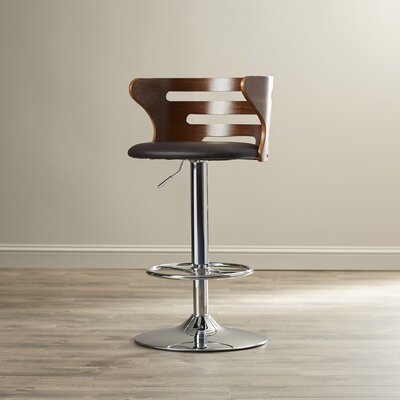 Zegna Adjustable Height Swivel Bar Stool with Cushion by Langley Street