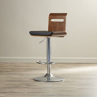Serra Adjustable Height Swivel Bar Stool with Cushion by Langley Street