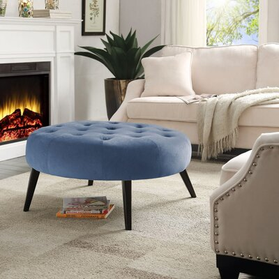 Button Tufted Velvet Cocktail Ottoman by !nspire