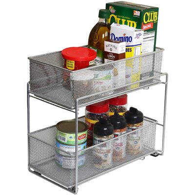 2 Tier Mesh Roll Out Cabinet Organizer Drawer by YBM Home