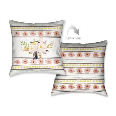 Tribal Flowers Throw Pillow by LauralHome