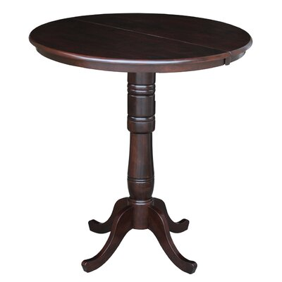 International Concepts Round Pedestal Bar Height Pub Table with Leaf