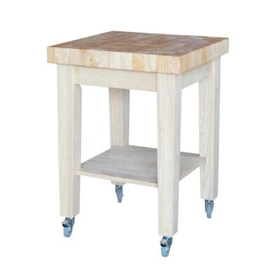 Kitchen Cart with Butcher Block with Storage Product Photo