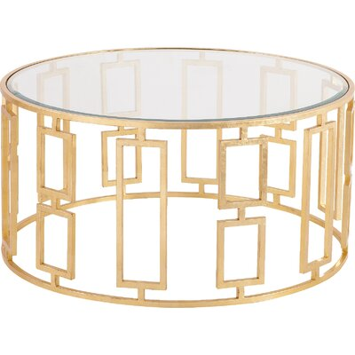 Boulevard Coffee Table in Antique Gold by House of Hampton