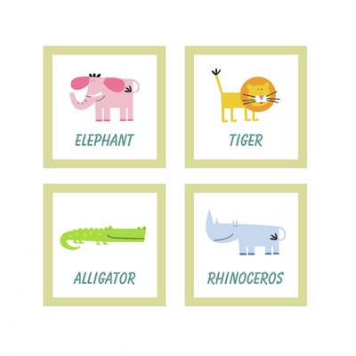 Jungle Animals 4 Piece Wall Art Set by FunDeco