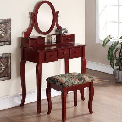 Roundhill Furniture Ashley Wood Makeup Vanity Set with