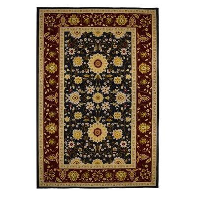 Oriental Floral Burgundy/Black Area Rug by EverythingHome