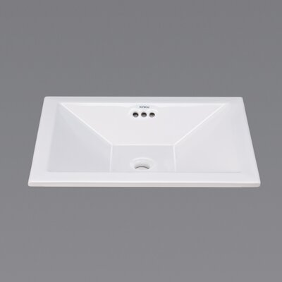 Ceramic Vessel - Square tapered semi-recessed w/overflow-White Product Photo