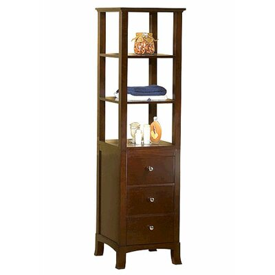 Transitional Linen Cabinet Storage Tower in Vintage Walnut by Ronbow