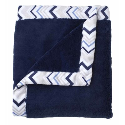 Classic Collection Navy Cuddle Plush Blanket with Printed Valboa Border by Just Born