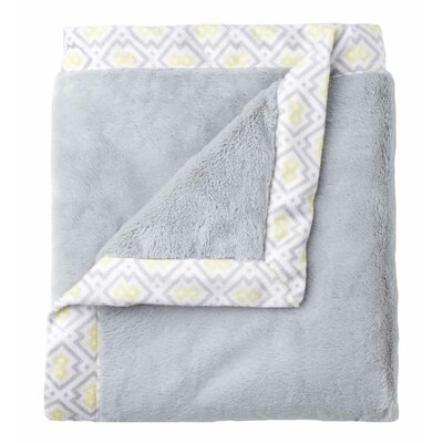 Classic Collection Gray Cuddle Plush Blanket with Printed Valboa Border by Just Born