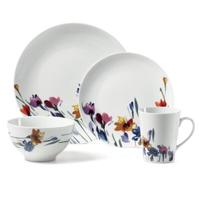 Watercolor Garden 16 Piece Dinnerware Set by Gourmet Basics by Mikasa