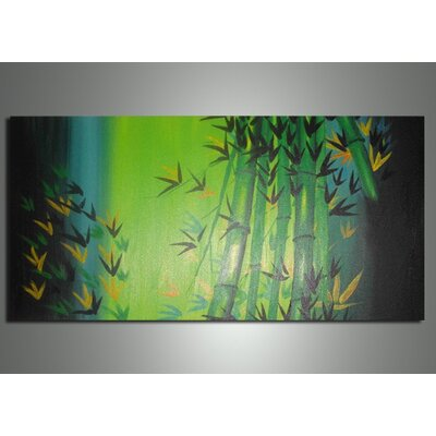 Bamboo Abstract Original Painting on Canvas by DesignArt