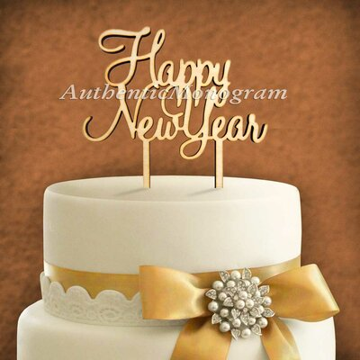 Happy New Year Wooden Cake Topper by aMonogramArtUnlimited