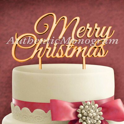 Merry Christmas Wooden Cake Topper by aMonogramArtUnlimited