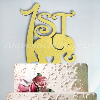 1St Birthday Elephant Wooden Cake Topper by aMonogramArtUnlimited