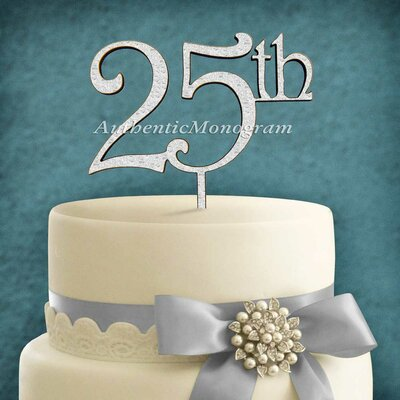 25Th Wooden Cake Topper by aMonogramArtUnlimited