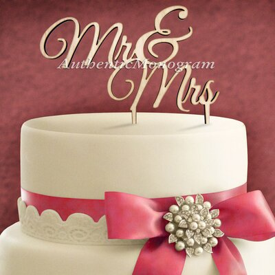Mr and Mrs Wooden Cake Topper by aMonogramArtUnlimited