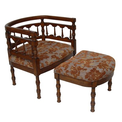 Savannah Fabric Arm Chair and Ottoman by Carolina Accents