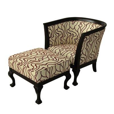 Biedermeier Chair and Ottoman by Carolina Accents