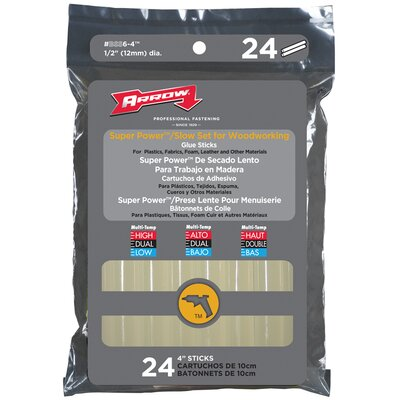 "Arrow Fastener 4"" Slow Set Glue Stick (Pack of 24)"