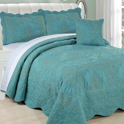 Damask 4 Piece Quilt Bed Spread Set by Serenta