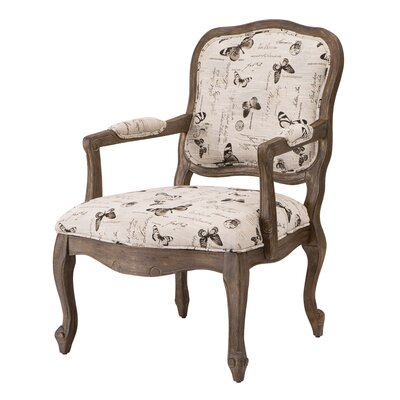 Monroe Camel Back Wood Arm Chair by Madison Park