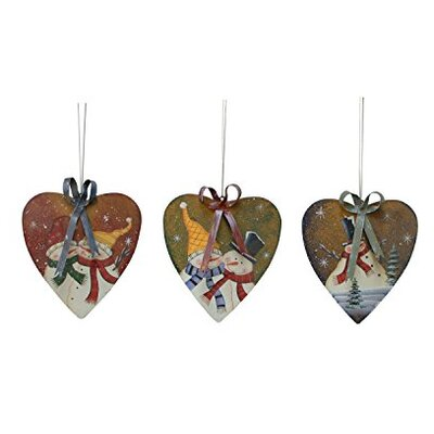 Snowman 3 Piece Painted Heart Ornament Set by AttractionDesignHome