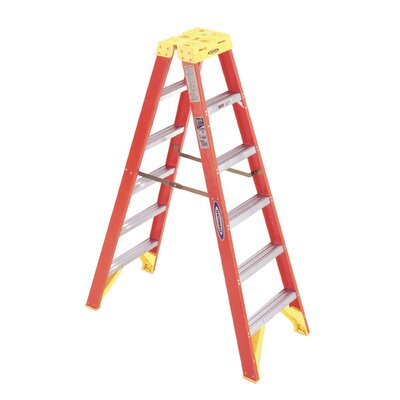 Werner 6 ft Fiberglass Twin Step Ladder with 300 lb. Load Capacity