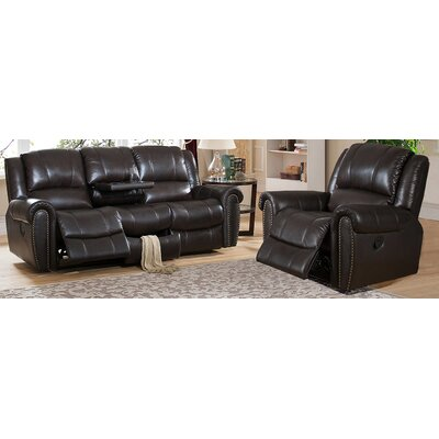 Charlotte Leather Recliner Sofa and Chair Set by Amax