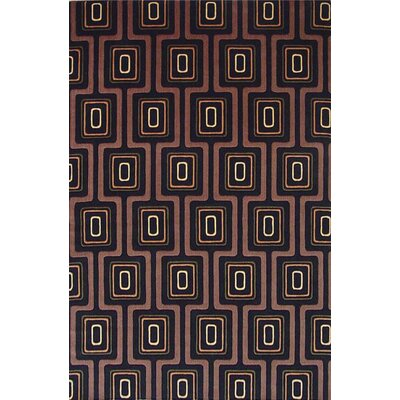 Tate Black City Grid Contemporary Rug by KAS Rugs