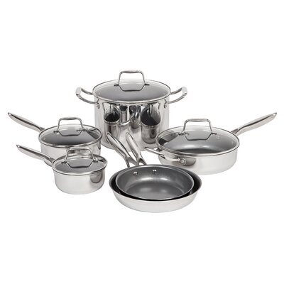 10 Piece Non-Stick Stainless Steel Cookware Set by MAKER Homeware