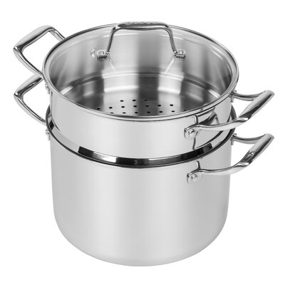 8-qt. Stock Pot with Steamer Insert and Lid by MAKER Homeware