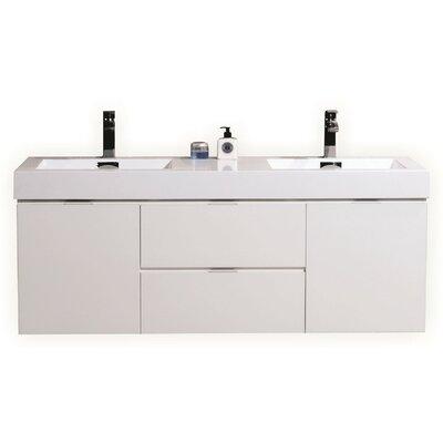 Bliss 60 Quot Double Wall Mount Modern Bathroom Vanity Set