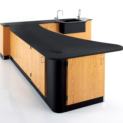 Diversified Woodcrafts Right Side Peninsula Workstation