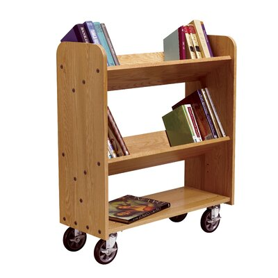 Diversified Woodcrafts Mobile Series Sloped-Shelf Book Cart