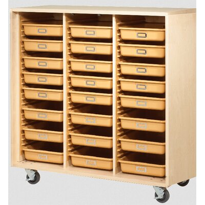 """Diversified Woodcrafts 51"""" H x 48"""" W x 22"""" D Mobile Tote Tray Storage Cabinet"""