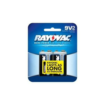 Rayovac 9V Alkaline Battery (Pack of 2)
